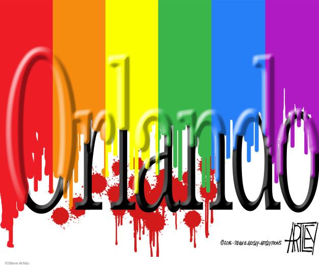 Cartoonist Steve Artley  Steve Artley's Editorial Cartoons 2016-06-13 gun massacre