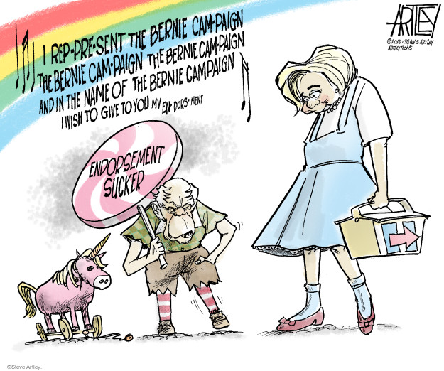 Steve Artley  Steve Artley's Editorial Cartoons 2016-07-14 Hillary Clinton and Bernie Sanders