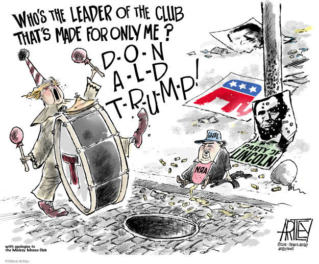 Whos the leader of the club thats made for only me? D-o-n-a-l-d T-r-u-m-p! Party of Lincoln. NRA. T.
