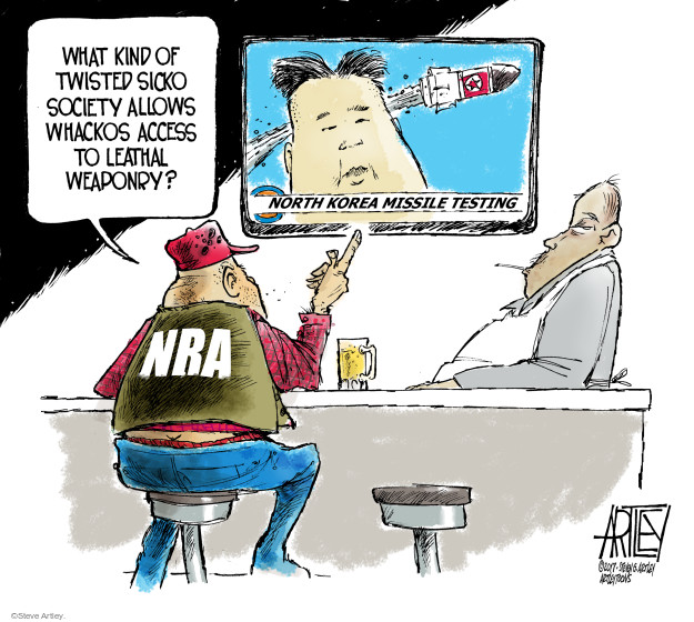What kind of twisted sicko society allows whackos access to lethal weaponry? North Korea Missile Testing. NRA.