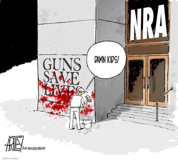 Guns save lives. Damn kids! NRA.