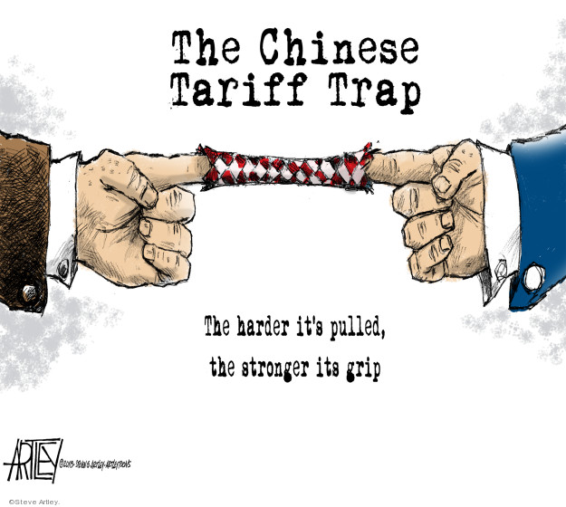 The Chinese Tariff Trap.  The harder its puttled, the stronger its grip.