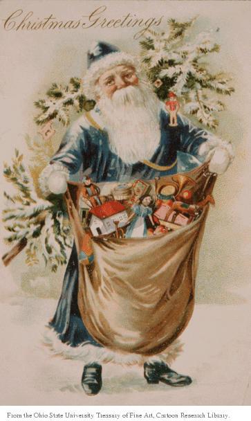 Christmas Greetings.  Santa Claus presents a sack full of toys.