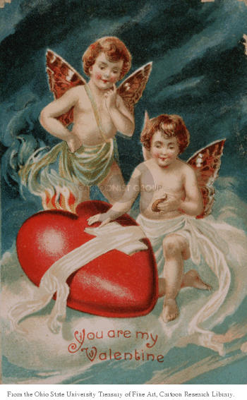 You Are My Valentine.  (Two cupids are positioned adjacent to a heart that is placed on a billowy cloud.)