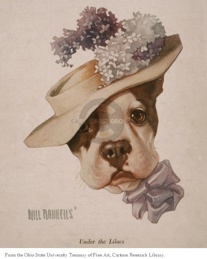 Under the Lilacs.  (Dog wears a hat topped with flowers.)