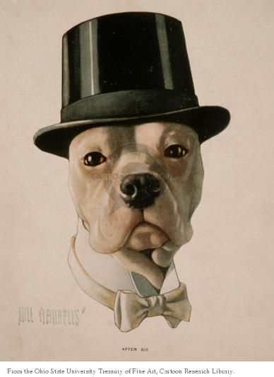 After six.  (Dog wears a top hat.)
