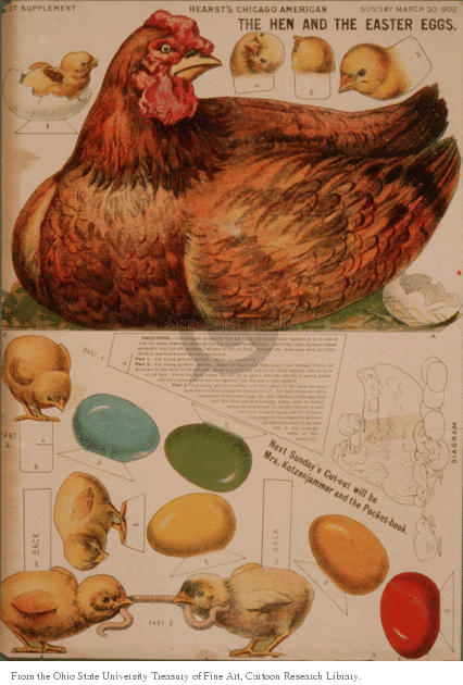 The Hen and the Easter Eggs.  (Diagram for a cut which, when assembled, will show a mother hen sitting on some eggs died for Easter while some recently  hatched chicks are also visible.)