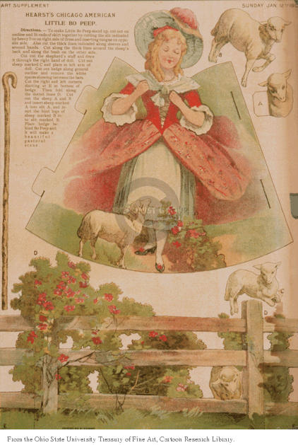 Art Supplement.  Hearsts Chicago American Little Bo Peep .  Sunday, Jan. 12, 1907.  (Diagram for a cut-out that, when assembled, will yield Little Bo Peep, a fence, some sheep and a walking staff.)