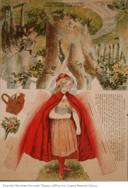 Art Supplement.  Hearsts Chicago American Little Red Riding Hood.  Sunday April 27, 1902.  (Diagram for a cut-out that , when assembled, will yield Little Red Riding Hood walking to her Grandmothers house while the Big Bad Wolf is nearby.)