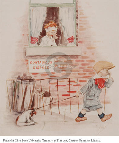 Contagious Disease.  (Boy passes by house where a another boy is quarantined.  Boy walking by holds his nose and the dog he walks attempts to shield his nose.)