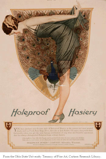 Holeproof Hosiery.  (Young woman bends over to look at her stockings.  In the background, a peacock spreads its feathers.)