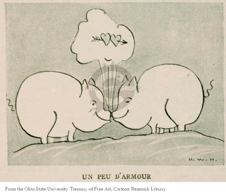 Un peu damour.  (A little love.  Two pigs rub noses and two hearts pierced by Cupids arrow rise above them.)