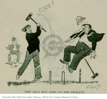 The golf bug goes in for croquet.  Fore!