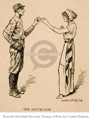 Her South-Paw.  A left-handed baseball player places a ring on the left hand of a woman.
