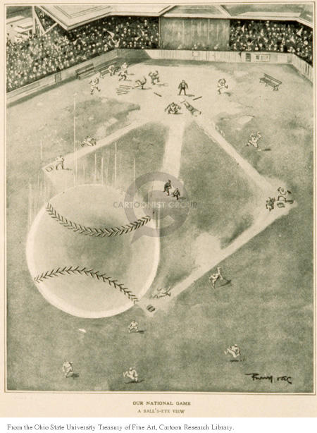 Our National Game.  A Balls Eye View.  (Baseball soars away from a baseball game.)