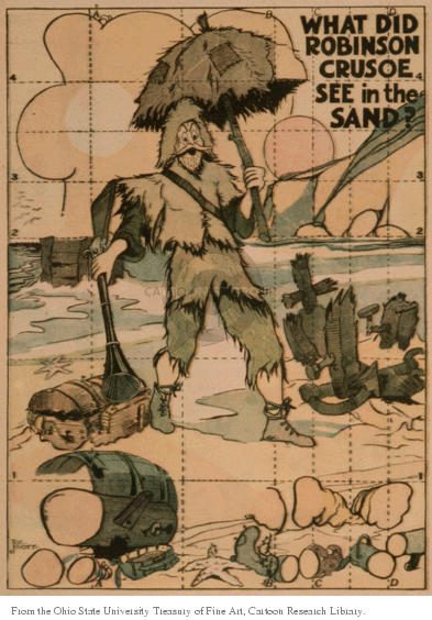 What did Robinson Crusoe see in the sand?