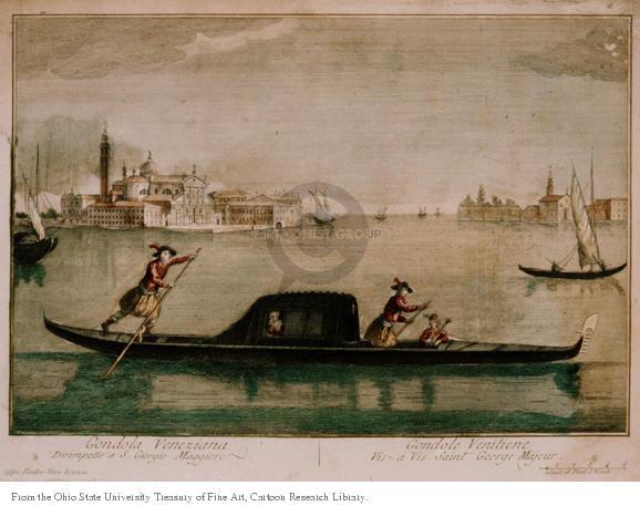 Gondola Veneziane.  Dirimpello a S. Giorgio Maggiore.  Gondole Venitiene.  Vis-�-vis Saint George Majeur.