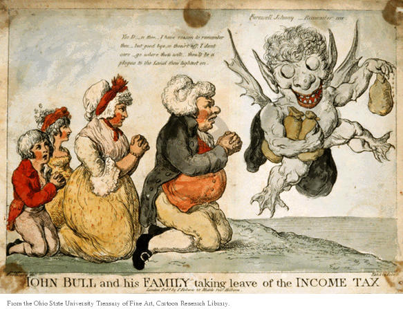 John Bull and his family taking leave of the income tax.