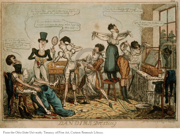 Dandies Dressing.  (A group of males are in the different stages of early 1800s dressing including putting on corsets, adjusting their collars and combing their hair.)