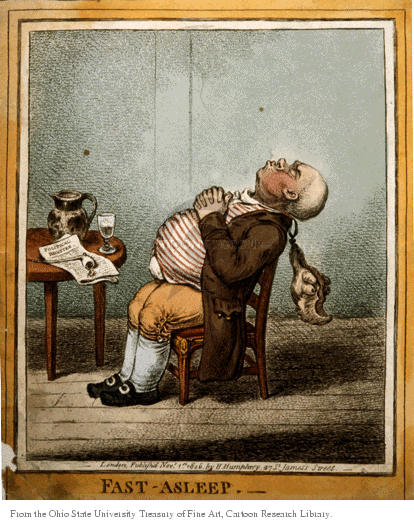 Fast-Asleep.  (Man sleeps sitting-up in chair.  His head leans back and his wig drops down.  His hands rest on his full stomach.)