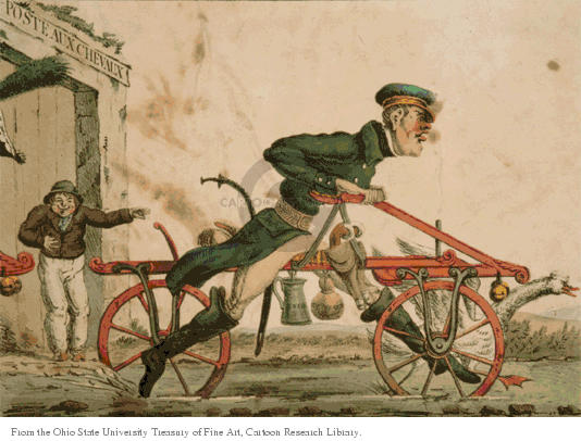 Poste Aux Chexaux.  (Postal express rider rides a contraption suggestive of a bike, instead of a pony or horse.)