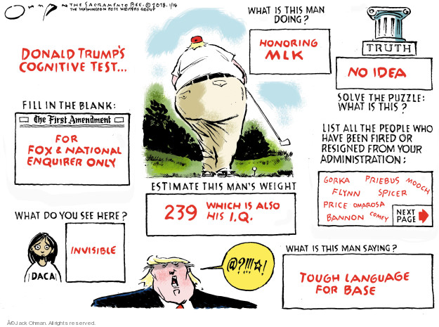 Cartoonist Jack Ohman  Jack Ohman's Editorial Cartoons 2018-01-18 Donald Trump Fox News