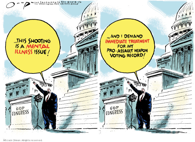 Cartoonist Jack Ohman  Jack Ohman's Editorial Cartoons 2018-02-16 gun rights