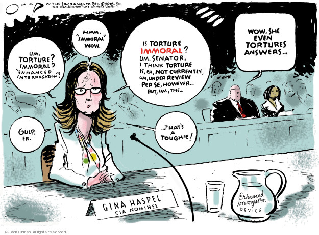 Cartoonist Jack Ohman  Jack Ohman's Editorial Cartoons 2018-05-11 Gina Haspel