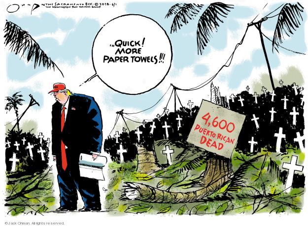 Quick! More paper towels!!! 4,600 Puerto Rican dead.