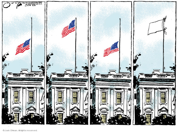 No caption (The American flag flies at various heights over the White House. In the last frame, a white cloud of surrender has been raised on the flagpole).
