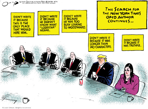 Jack Ohman  Jack Ohman's Editorial Cartoons 2018-09-12 presidential cabinet