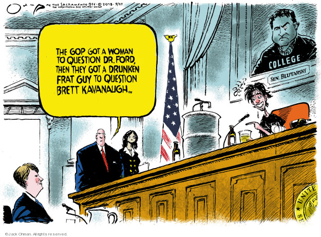 Cartoonist Jack Ohman  Jack Ohman's Editorial Cartoons 2018-09-27 assault