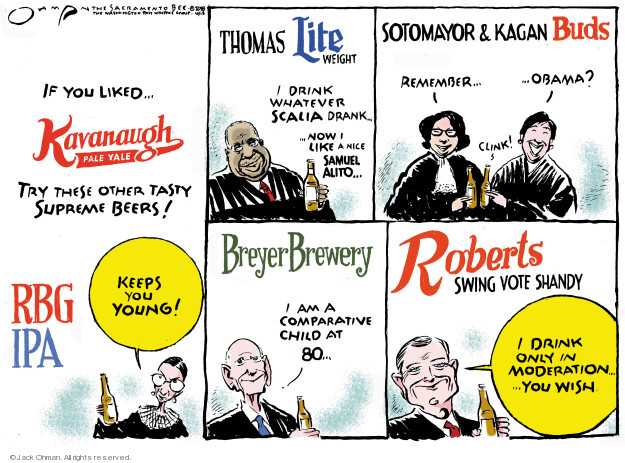 If you liked … Kavanaugh Pale Yale. Try these other tasty supreme beers! RGB IPA. Keeps you young! Thomas Lite Weight. I drink whatever Scalia drank … no I like a nice Samuel Alito … Sotomayor & Kagan Buds. Remember … Obama? Clink! Breyer Brewery. I am a comparative child at 80 ... Roberts Swing Vote Shandy. I drink only in moderation ... you wish.