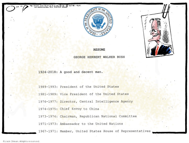 Seal of the President of the United States. Resume. George Herbert Walker Bush. 1924-1993: President of the United State. 1981-1989: Vice President of the United States. 1976-1977: Director, Central Intelligence Agency. 1974-1975: Chief Envoy to China. 1973-1974: Chairman, Republican National Committee. 1971-1973: Ambassador to the United Nations. 1967-1971: Member, United States House of Representatives.