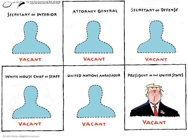 Secretary of Interior. Vacant. Attorney General. Vacant. Secretary of Defense. Vacant. White House Chief of Staff. Vacant. United Nations Ambassador. Vacant. President of the United States. Vacant.