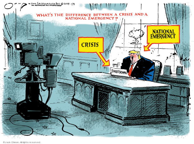 Whats the difference between a crisis and a national emergency? Crisis. National emergency. Shutdown.