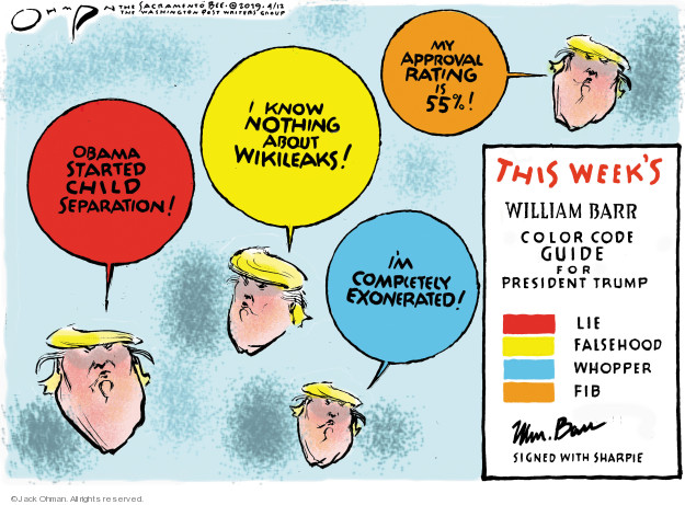 Cartoonist Jack Ohman  Jack Ohman's Editorial Cartoons 2019-04-12 Trump Family