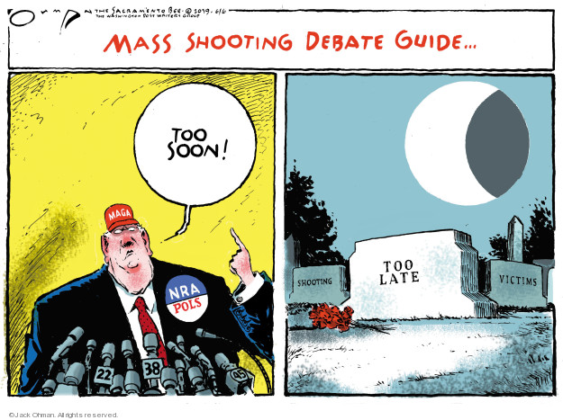 Mass shooting debate guide … Too soon! MAGA. NRA. POLS. 22 38. Too late. Shooting victims.