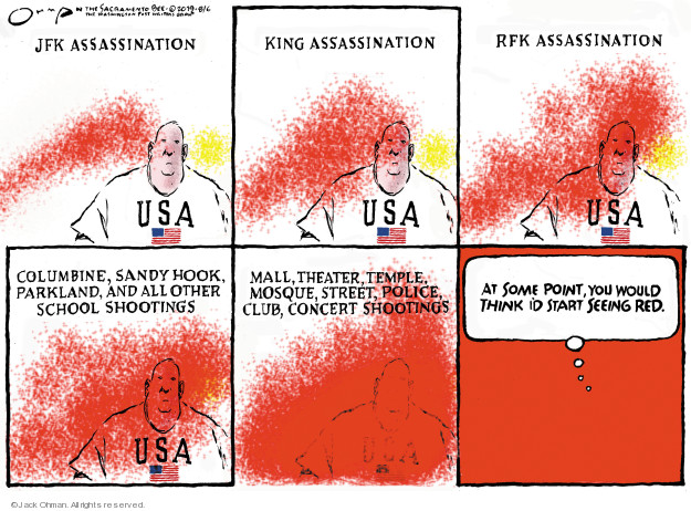 Cartoonist Jack Ohman  Jack Ohman's Editorial Cartoons 2019-08-06 gun rights