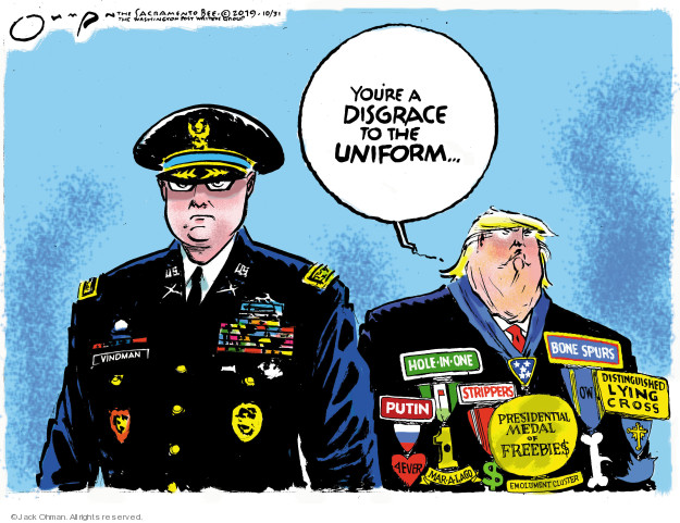 Cartoonist Jack Ohman  Jack Ohman's Editorial Cartoons 2019-10-31 honor