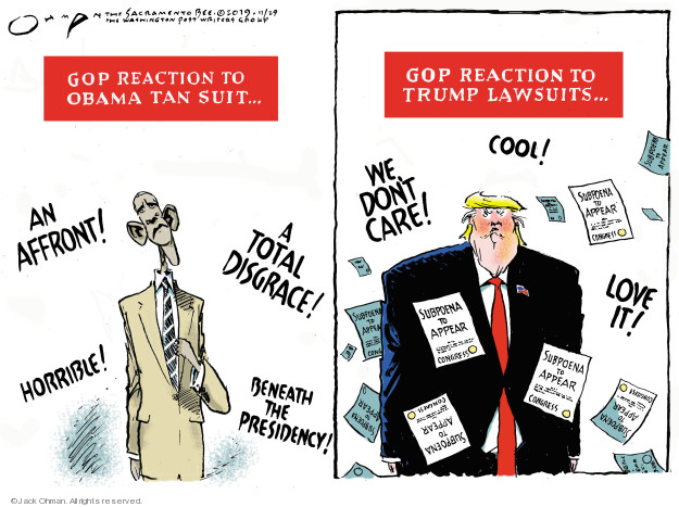Cartoonist Jack Ohman  Jack Ohman's Editorial Cartoons 2019-11-29 GOP