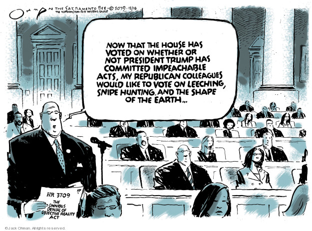 Cartoonist Jack Ohman  Jack Ohman's Editorial Cartoons 2019-12-18 impeachment