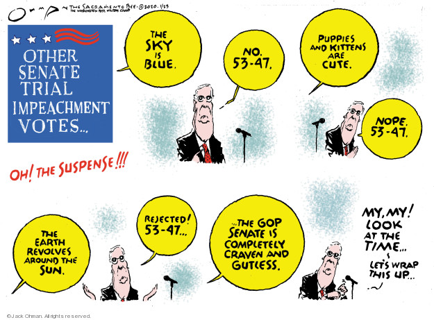 Cartoonist Jack Ohman  Jack Ohman's Editorial Cartoons 2020-01-23 senator