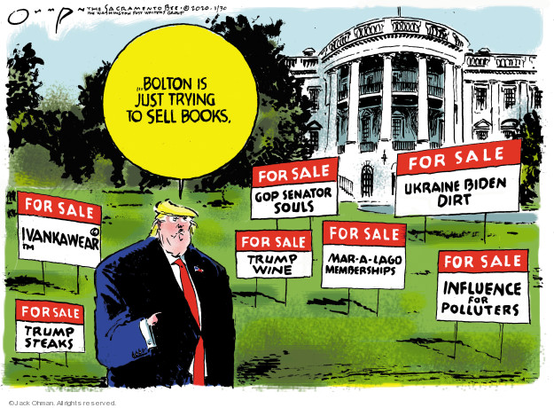 Cartoonist Jack Ohman  Jack Ohman's Editorial Cartoons 2020-01-30 political scandal