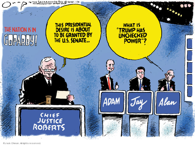Cartoonist Jack Ohman  Jack Ohman's Editorial Cartoons 2020-01-31 political scandal