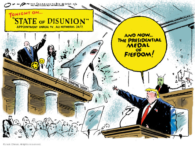 Cartoonist Jack Ohman  Jack Ohman's Editorial Cartoons 2020-02-06 Trump administration