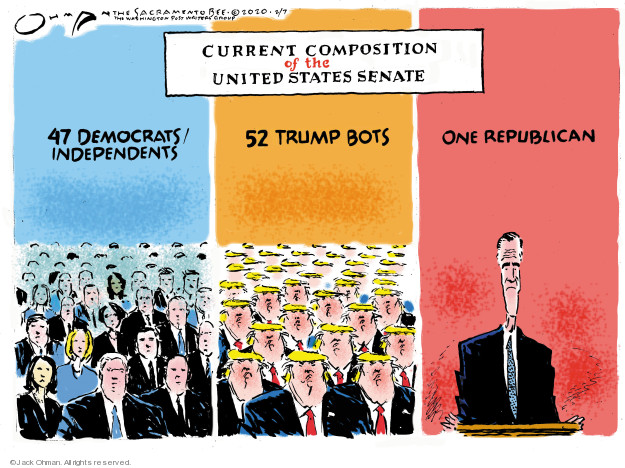 Cartoonist Jack Ohman  Jack Ohman's Editorial Cartoons 2020-02-07 political scandal