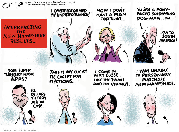 Cartoonist Jack Ohman  Jack Ohman's Editorial Cartoons 2020-02-14 2020 election