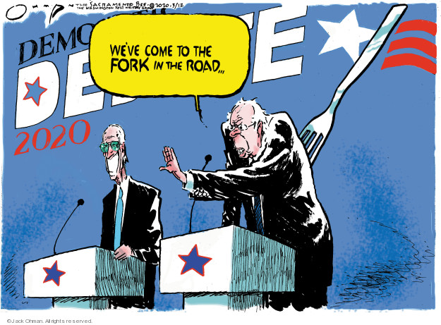 Cartoonist Jack Ohman  Jack Ohman's Editorial Cartoons 2020-03-12 election