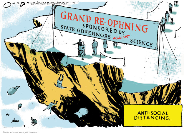 Cartoonist Jack Ohman  Jack Ohman's Editorial Cartoons 2020-04-22 social distancing